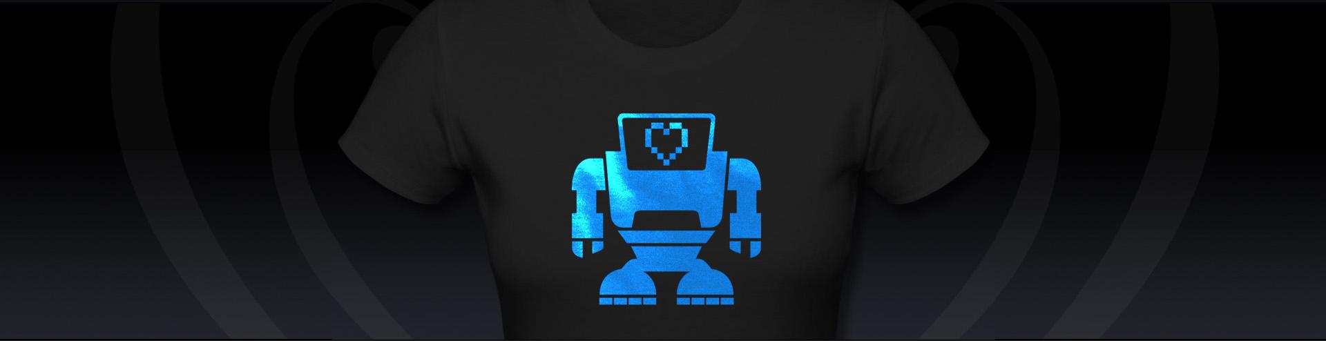 T-shirt Druck Stuttgart Roboter metallic blau